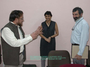 Professor Raghavendra Gadagkar in conversation with Dr.Anuradha and professor Bruce Lewenstein during a break at the History of Science Seminar on November 2nd, 2009